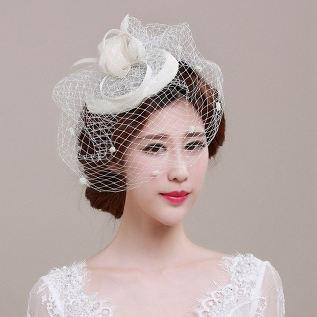 e3699b4782 Elegant Fascinator Women Big Headband Fedora Hats Wedding Bridal Small Hat  Mesh Cover Face Party Female