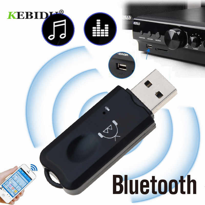 KEBIDU USB Bluetooth receptor V2.1 Bluetooth adaptador de Audio inalámbrico AUX estéreo con micrófono para USB Car MP3 Player Speaker