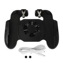 4 in 1 Mobile Gamepad Controller Phone Handgrip Free Fire Buttons L1R1 Trigger Joystick Holder Stand Cooling Fan for 4-6.3inch S