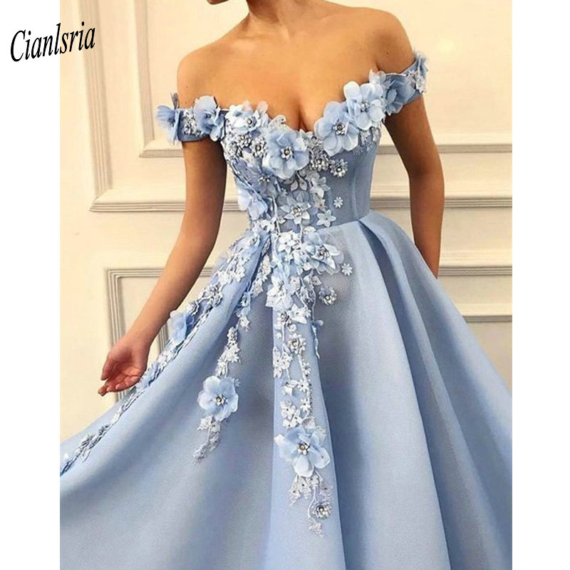 2019   Prom     Dresses   off the shoulder   Prom     Dresses   Flowers Appliques Beautiful Princess   dress   Tulle Backless robe de soiree