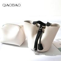QIAOBAO 2019 Genuine Leather Bag new trend casual bucket bag fashion mini handbag basket classic handbag Lady small totes
