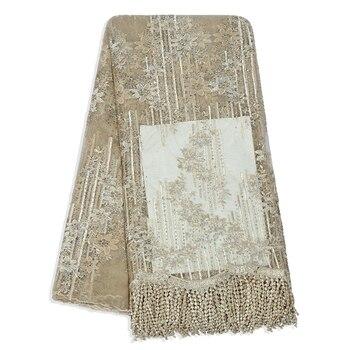 Cordón dorado africano con diamantes de imitación de tul nigeriano, encaje de moda, vestido de diseñador de fiestas, tela de red, tejido de encaje francés de 5 yardas
