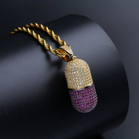 Micro Paved AAA CZ Stone Cubic Zirconia Pill Capsule Pendants Necklaces Men Hip Hop Bling Ice Out Rapper Jewelry no chain
