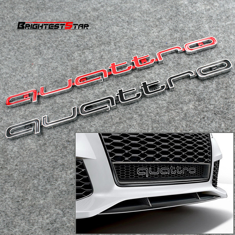 цена на Red Quattro Emblem Logo Badge Car Sticker ABS Front Racing Grill Mesh Bumper For Audi RS3 RS4 RS5 RS6 Q3 Q7 A3 A4 A5 A6 A7 RS S
