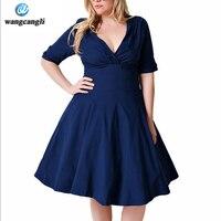 wangcangli Large size clothes women summer cotton dress super stretch V-neck chest fold sleeves plus size black woman dress 2017