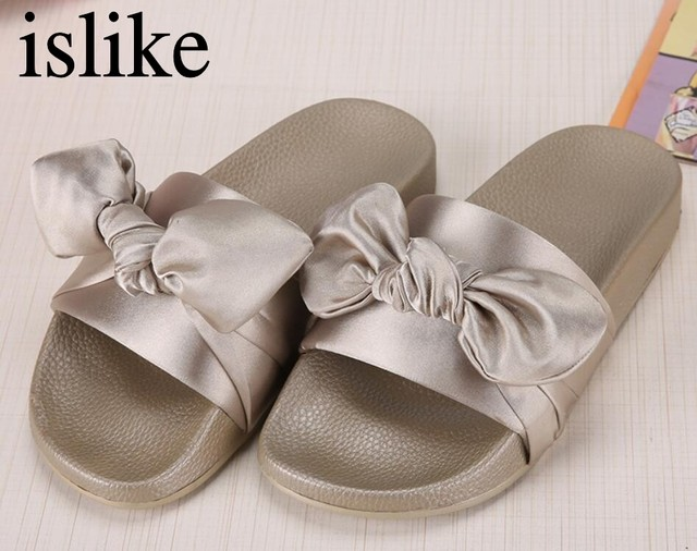 9d672617677 islike Silk Bow Slides Women Summer Beach Shoes Woman No Fur Slippers Flat  Heels Flip Flops