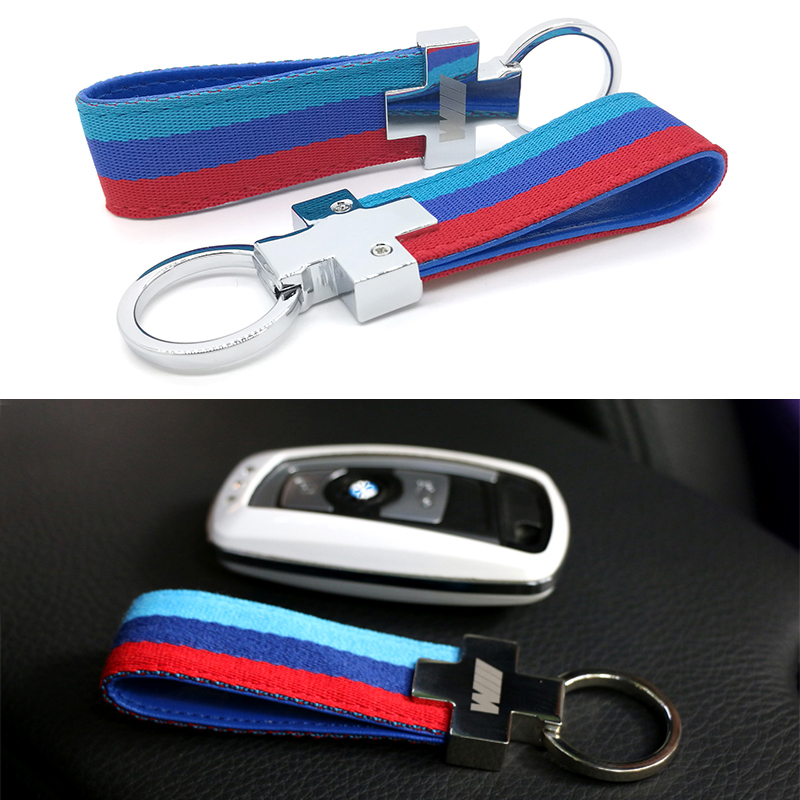 Nylon Leather Belt Chrome Keyring Keychain Key Chain For BMW M Sport E46 E39 E60 F30 E90 F10 F30 E36 X5 E53 E30 E34 X1 X3 M3 M5
