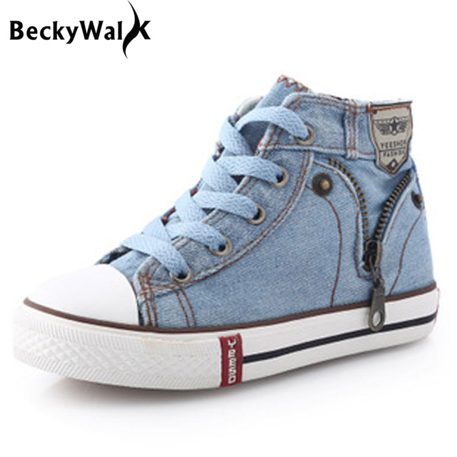 65c7272044 US $12.0 50% OFF|Children Sneakers Kids Canvas Shoes for Girls Boys denim  jeans Kids Boots High top Girls Sneakers Boys Shoes Size25~37 CSH245-in ...
