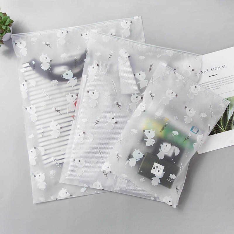 Animais fofos Transparente Caixa de Maquiagem Cosméticos Saco de Viagem Das Mulheres Zip Compõem Organizador Bolsa De Armazenamento saco de Lavagem de Higiene Kit de Beleza de Banho