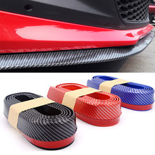 2.5m Car Bumper Lip Strip Protectors Splitter Body Kits Spoiler Bumpers Car Door Bumper Carbon Fiber Rubber Lip 65mm Width Strip(China)