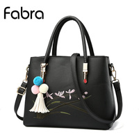Fabra New Handbags Women Messenger Bags Embroidery Flower Designer PU Leather Women Small Fashion Shoulder Crossbody