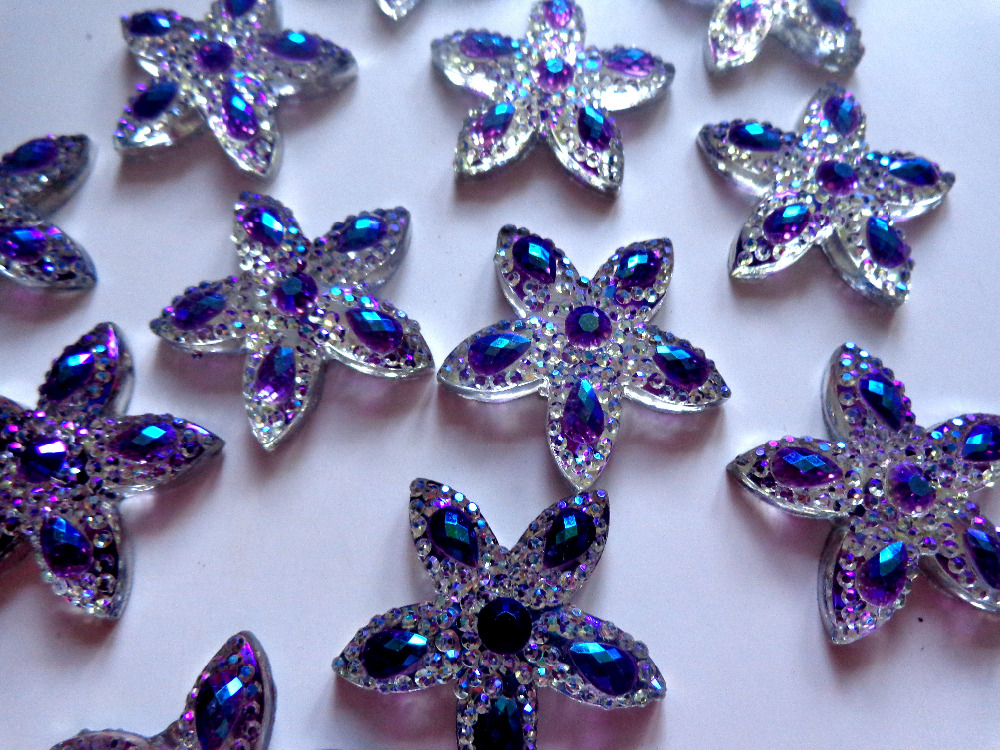 30 30mm start shape Flatback Resin rhinestones purple silver colour No  holes Crystals for dress bags shoes 30pcs-in Rhinestones from Home   Garden  on ... 8410fab2a209