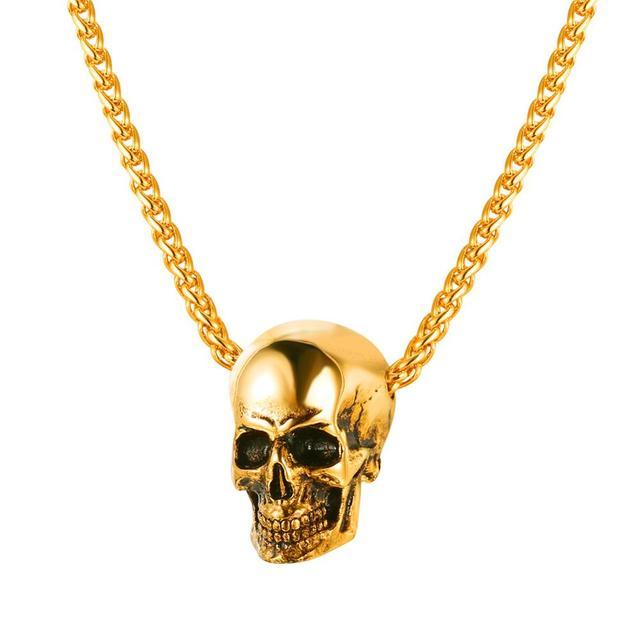 Gothic Biker Skull Pendant & Chain 1