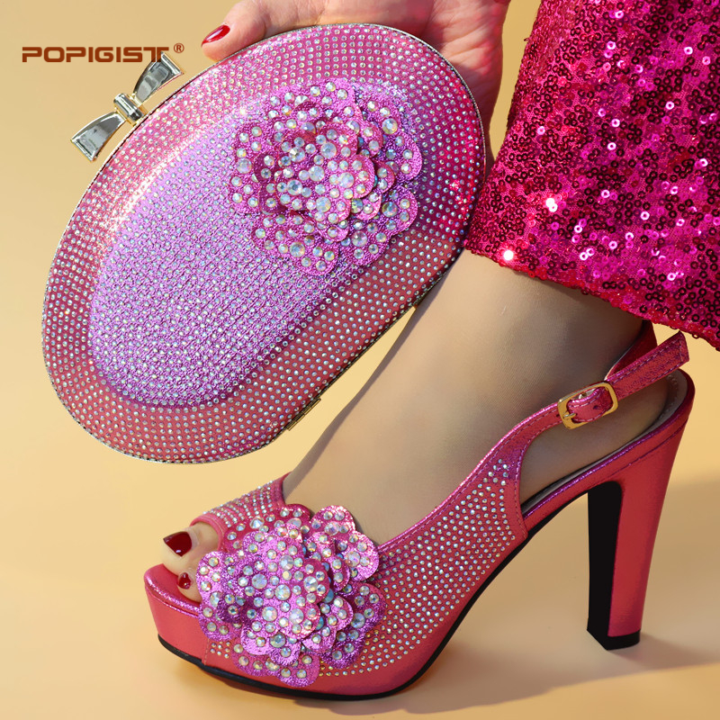 Fuchsia Color Women Shoes Unique Design good quality Italian Shoes Matching With bag Italian Shoes With