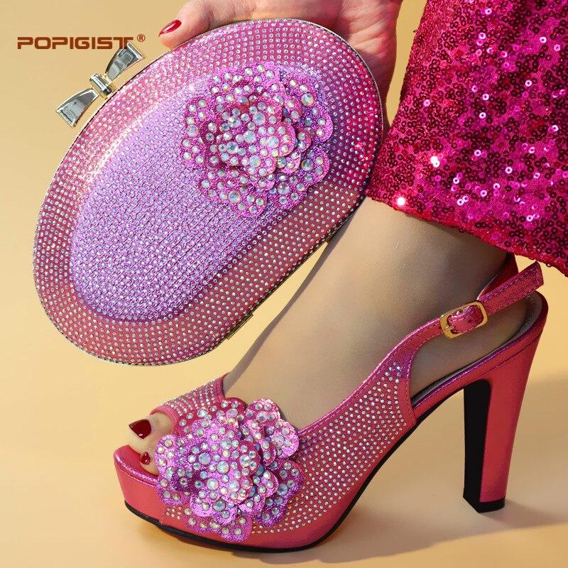 Fuchsia สีรองเท้ารองเท้าที่ไม่ซ้ำกันออกแบบคุณภาพดีอิตาเลี่ยนรองเท้าจับคู่พร้อมกระเป๋าอิตาเลี่ยนรองเท้ากระเป๋าคู่ชุด-ใน รองเท้าส้นสูงสตรี จาก รองเท้า บน   1