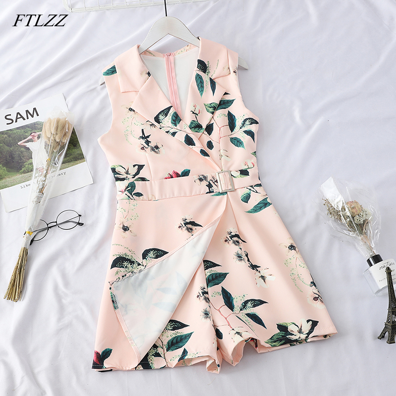 FTLZZ 2019 New Women's Playsuits Sweet Summer Casual Fashion Bohemian Print Strap Sleeveless   Jumpsuit   Overalls For Women