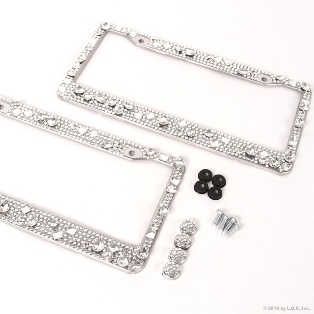 free shipping 1x License Plate Frames Screw Cap Crystal Diamond Rhinestone Bling Mix Clear