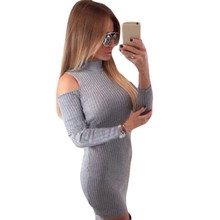 Winter off shoulder long sleeve knitted dresses women sweater sexy evening party Bodycon dress vestidos de