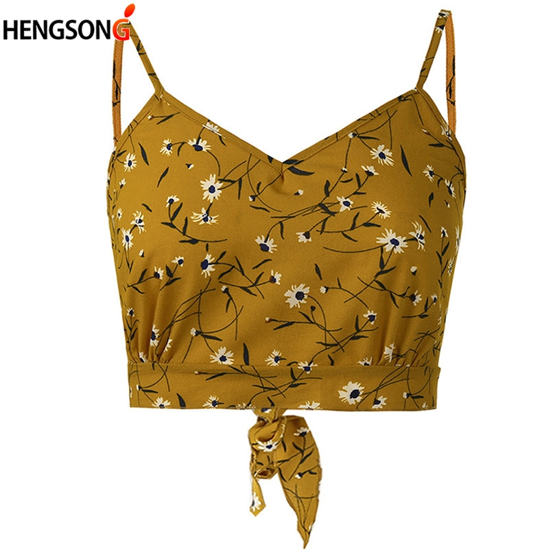 Hot sale Summer Floral Print Crop Cami Top V Neck Camis Top Women Self Tie Back Hollow Bow Camisole Ropa Mujer