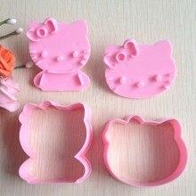 Moule à gâteau à Hello kitty formes, ensemble artistique du sucre, outils pour gâteau, Fondant, coupe biscuits, 2 pièces/ensemble