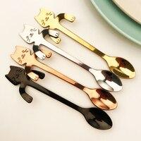 Cute Mini Cat Coffee Tea Spoon Stainless Steel Hanging Spoon Reusable Tableware Hot Sale High quality