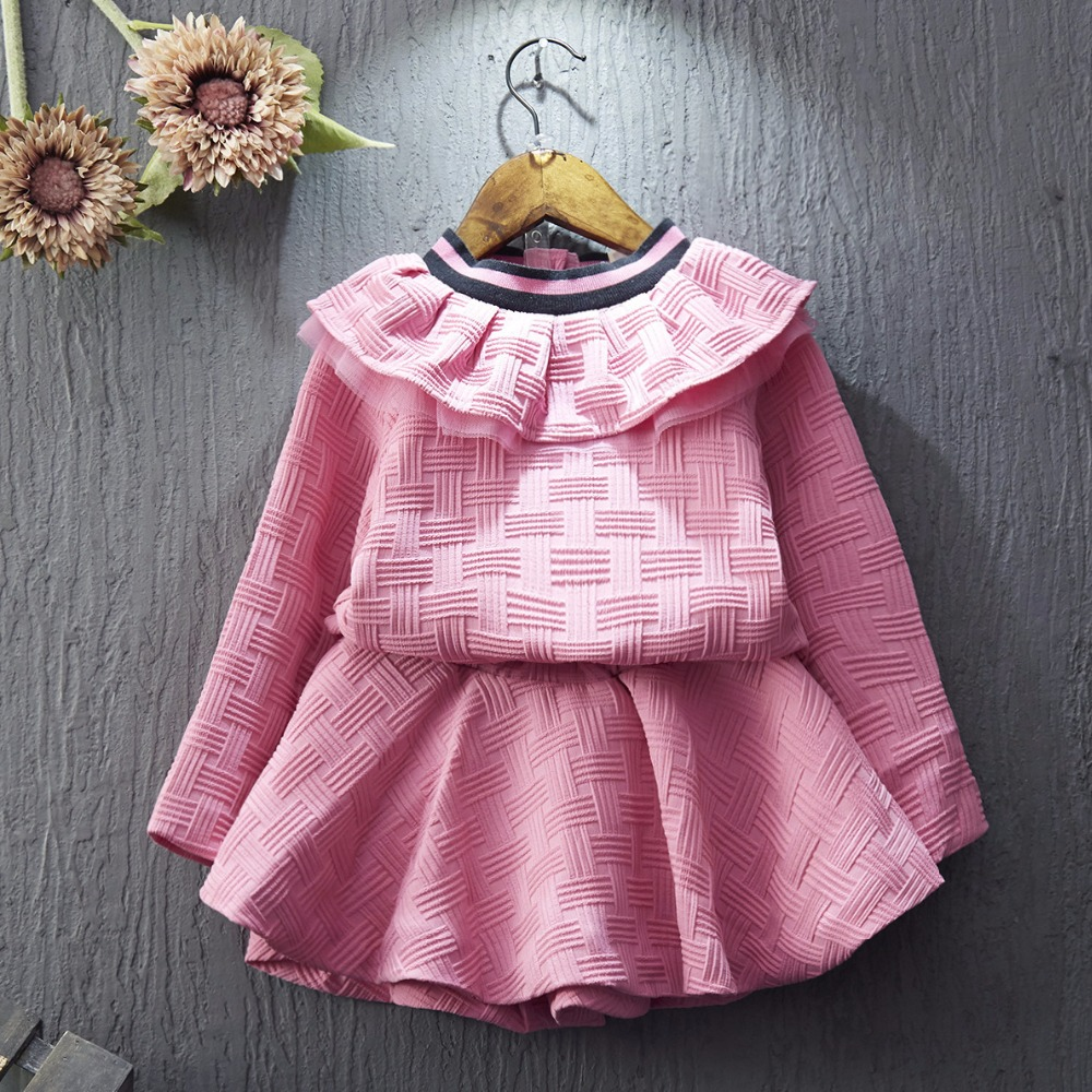 children clothing 2017 new fashion spring kids clothes top long sleeve hoodies+tutu skirt 2pcs toddler girls clothings sets 2-7T цены онлайн
