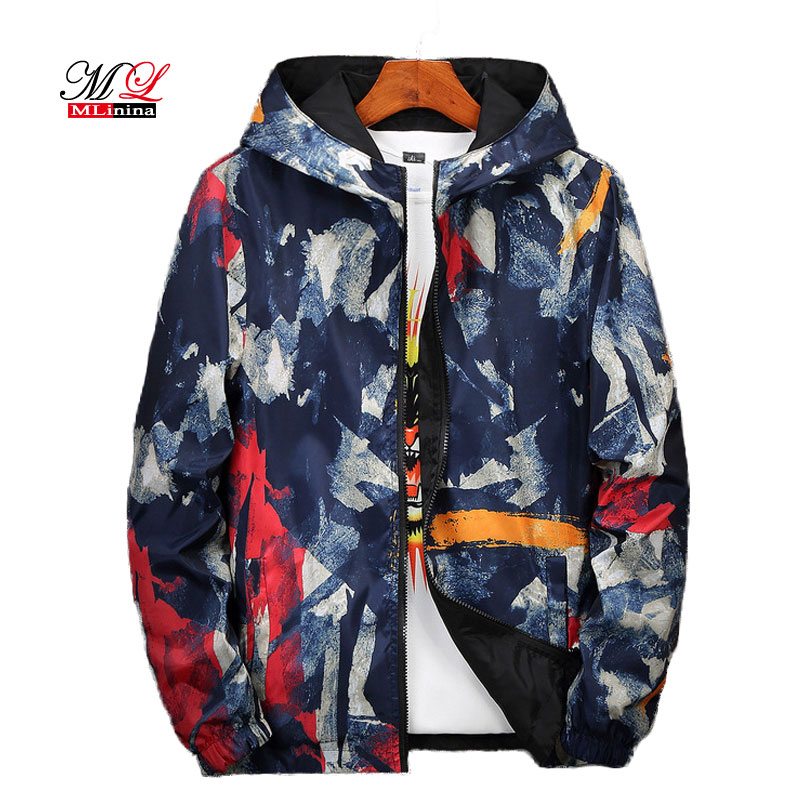 MLinina 2019 New Arrivals Casual   Basic     Jackets   Women Fashion Graffiti Hooded Windbreaker Puls Size 8XL   Jacket   Female Windbreaker
