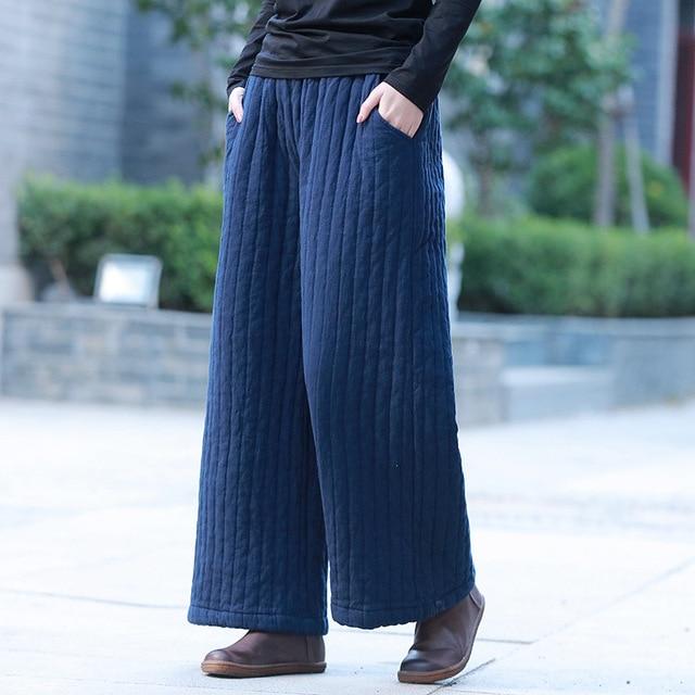 Johnature 2019 New Cotton Linen Elastic Mid Waist Loose Vintage Full Length Pants Winter Solid Color Casual Women Wide Leg Pants