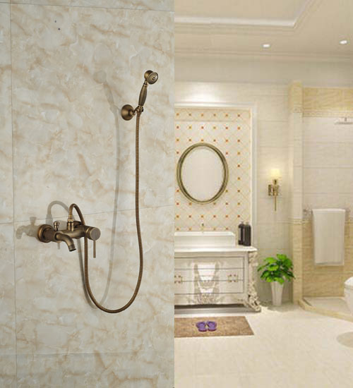 Wall Mounted Bathroom Tub Faucet Single Handle Mixer Tap Luxury Bathtub W/Hand Shower Faucet luxury modern 8 square rain shower head faucet wall mounted shower column single handle tub spout mixer tap shower hand