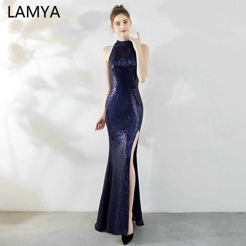 LAMYA Sequined Front Split   Cocktail     Dress   Elegant Elastic Satin Halter Evening Party   Dresses   Mermaid Backless Prom   Dress