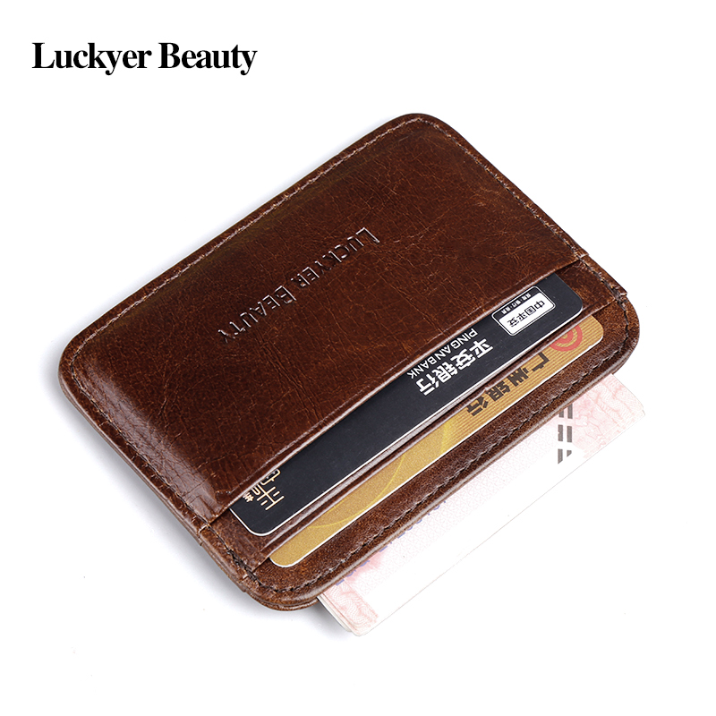 LUCKYER BEAUTY Genuine Leather Men Credit Card Holder Man Fashion Minimalist Wallets Slim Card Case for Male Travel Cardcase