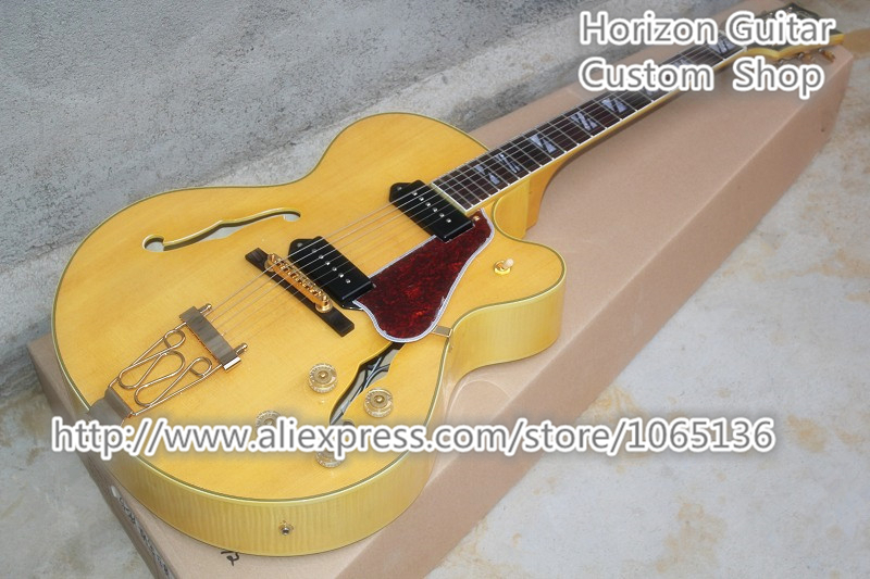 good cheap price china custom guitar hollow body archtop electrica guitarra natural color. Black Bedroom Furniture Sets. Home Design Ideas