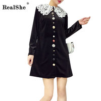 RealShe Elegant Women Dress Woman Turn Down Collar Striped Short Vintage Dresses Woman Sexy Velvet Dresses