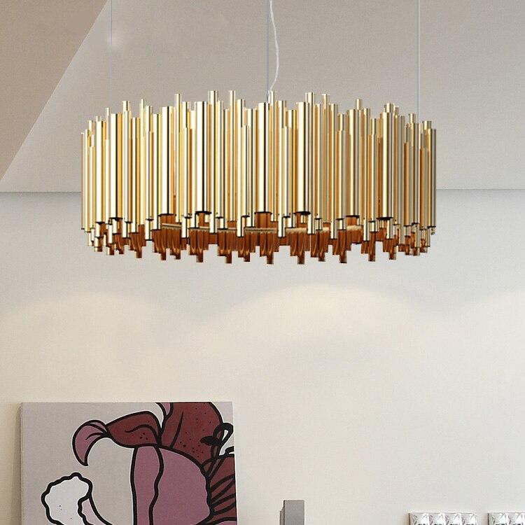 Nordic постмодерн творческих алюминиевый бар люстра Американский спальня ресторан гостиная вилла алюминиевые трубки проекта CH