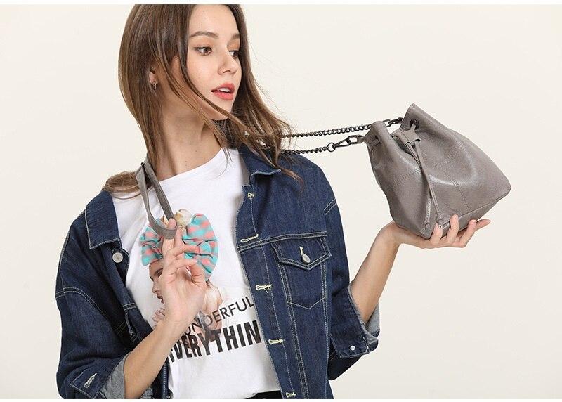 MJ Genuine Leather Women Bag Chain Crossbody Handbag Female Real Cow Leather Bucket Shoulder Bags Small Messenger Bag for Girls (33)