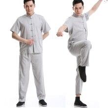 2018 nuevo verano chino tradicional Kung Fu uniforme Mens Tang trajes manga  corta chaqueta + Pant envío gratis 98c11fa131d