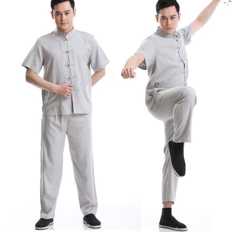 2018 New Summer Chinese Traditional Kung Fu Uniform Mens Tang Suits Short Sleeves Jacket + Pant Free Shipping