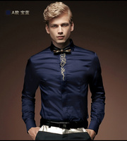Free Shipping New Spring Autumn Male Long Sleeve Shirt Solid Color Slim Embroidery Flower Men S