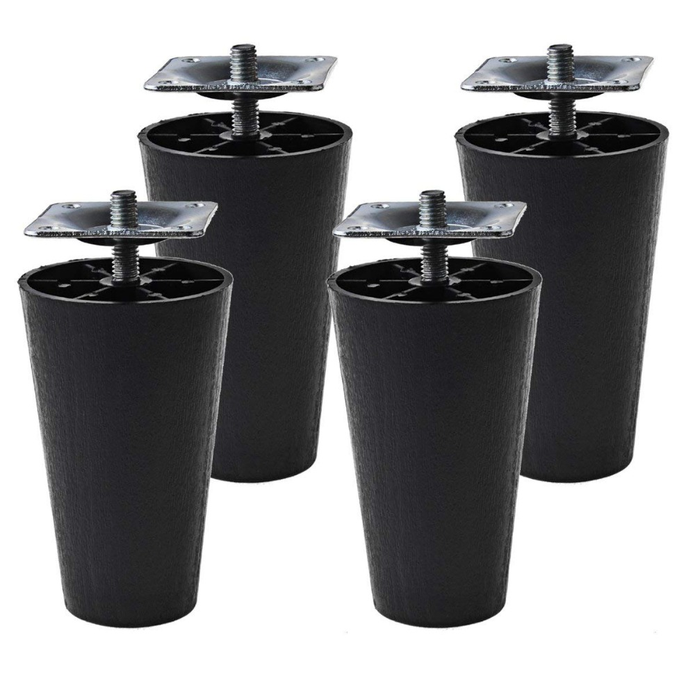 "4Pcs 4"" Round Black Tapered Plastic Sofa,M8 Thread (Metric 8mm)  Couch, And Chair Legs, Set Of 4--M8 Thread (Metric 8mm)"