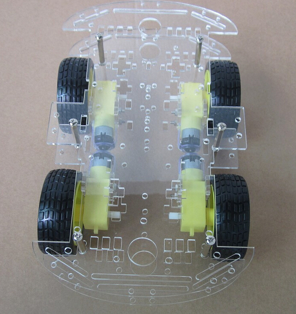 Free shipping 4WD Smart Robot Car Chassis Kits for arduino with Speed Encoder New