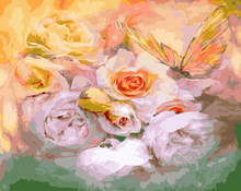 """DIY Painting By Number – Flower with Butterfly (16""""x20"""" / 40x50cm)"""