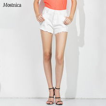 Mostnica Summer White Jean Short Pants High Wait Washed Ripped Hole Denim Hot Pant with Pockets Sexy Streetwear Mini Shorts