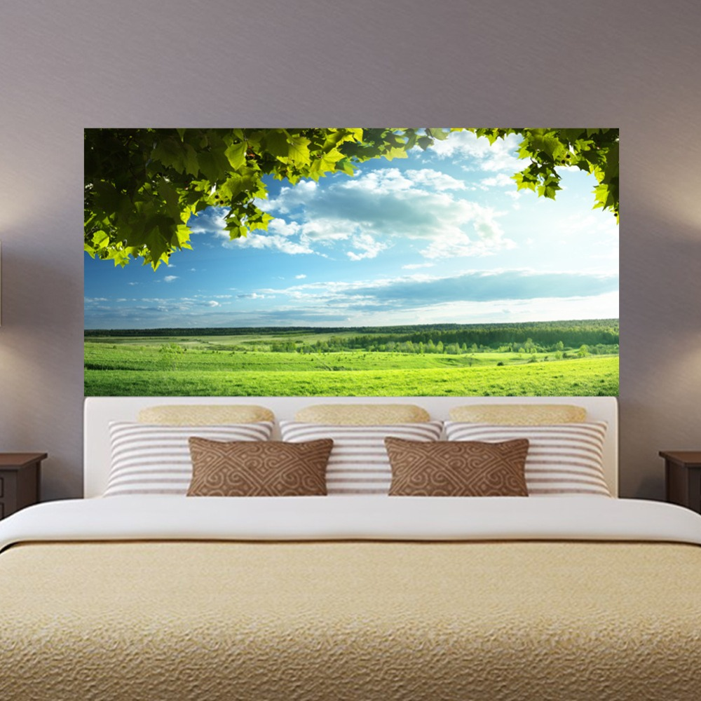 Image 3 - Green Trees Blue Sky Bed Headboard Sticker Wall Stickers Home Decoration DIY Household Living Room Bed Room Decoration New-in Wall Stickers from Home & Garden