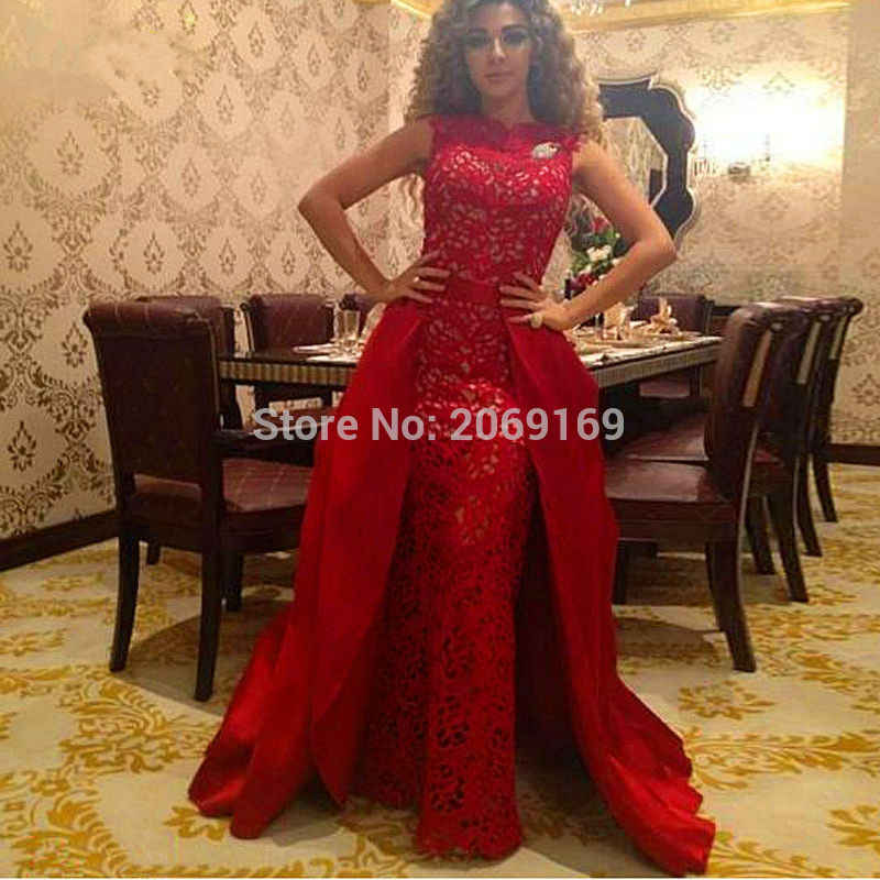 우아한 붉은 레이스 Kaftans 이브닝 드레스 터키 2020 정장 긴 Caftan 두바이 아랍어 가운 분리형 기차 가운 사이렌