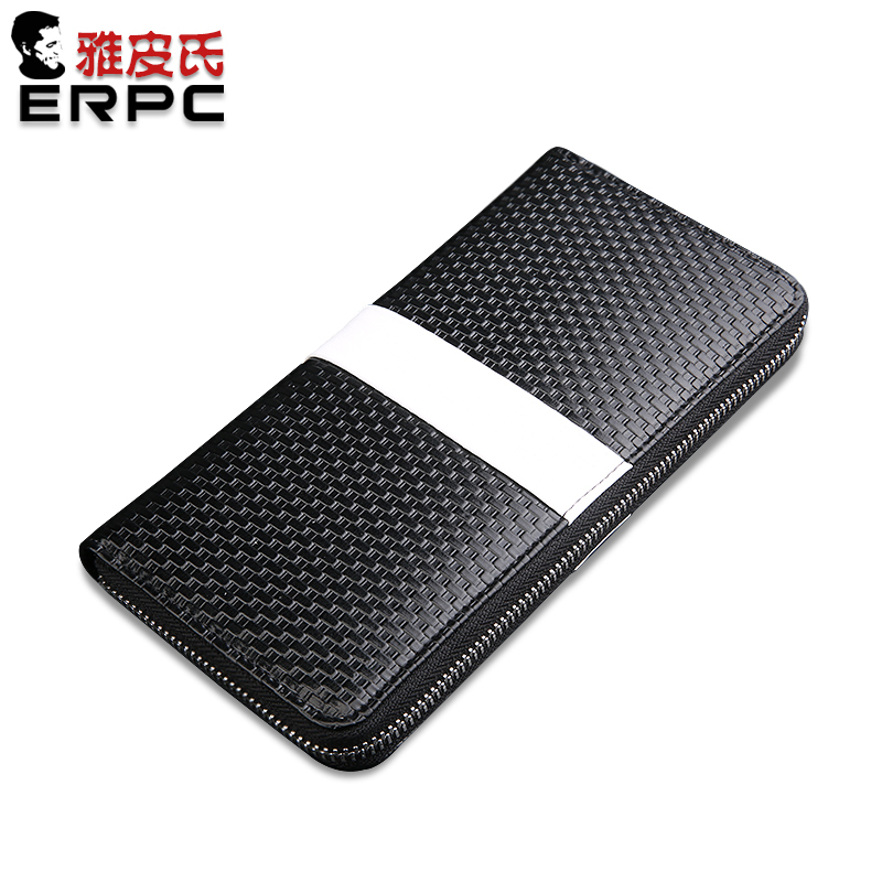 5 colors option /  Men Genuine Leather Wallet , Knit, white strap in Middle,   Portable Long Purse Clutch Bag Big Capacity
