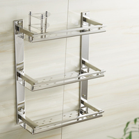Vidric DIY Bathroom Shelves 304 Stainless Steel 3 Layer Cosmetic Rack Toothbrush Mouthwash Holder Bathroom Shelf Towel Rack