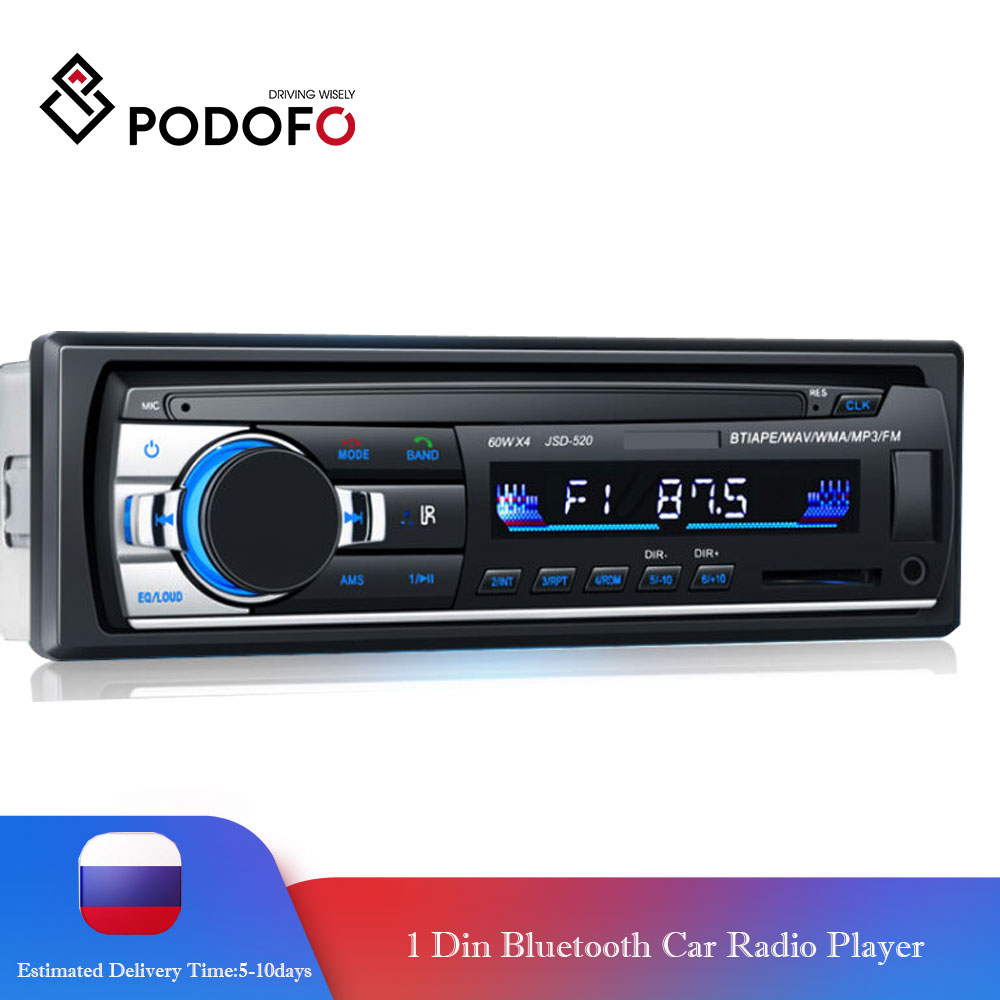 Podofo Autoradio Car Radio Stereo Bluetooth FM Aux Input Receiver SD USB JSD-520 12V In-dash 1 Din Audio MP3 Multimedia Player