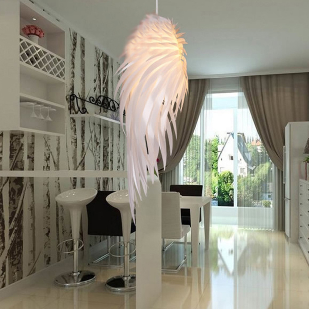 Modern Pendant Light Romantic Angel Wings PVC Feather Bedroom Hanging Lamp Lamparas Lustre 110