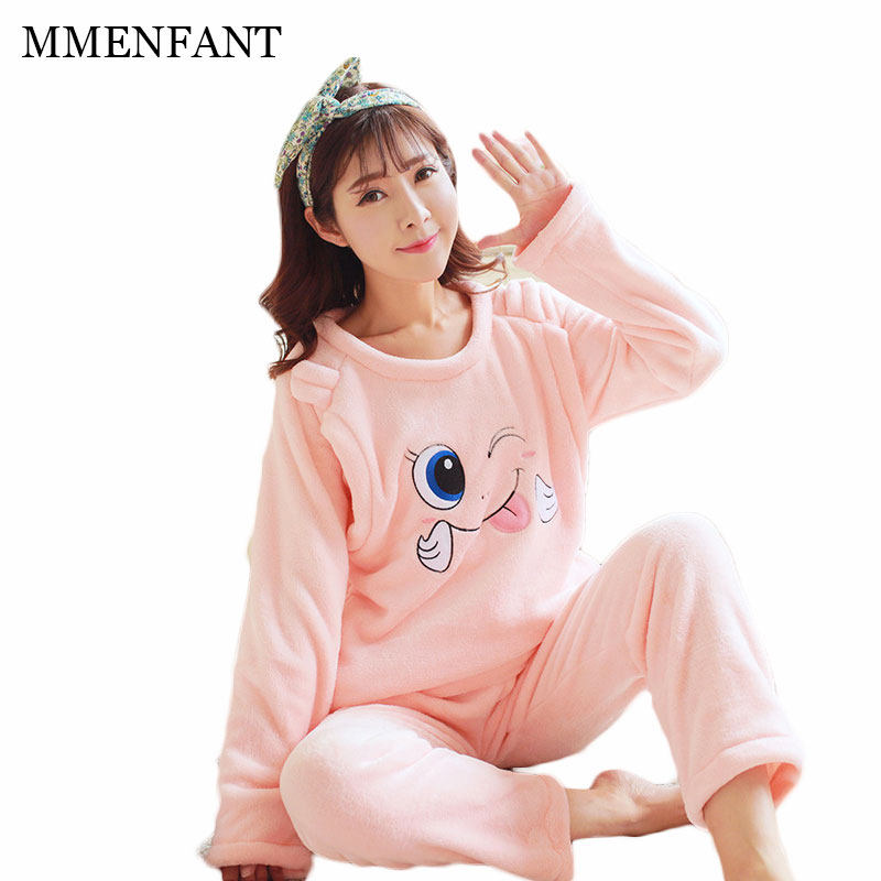 Women clothing maternity clothes sets winter Christmas fashion Flannel thickened pajamas pregnant women Tops warm pants 2pc suit