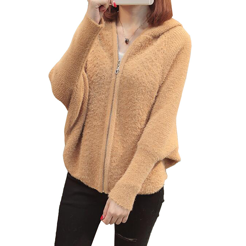 2018 Autumn Winter Women Fashion Knitted Cardigan Sweater Hooded Bat Sleeve Lmitation Mink Cashmere Loose Sweater